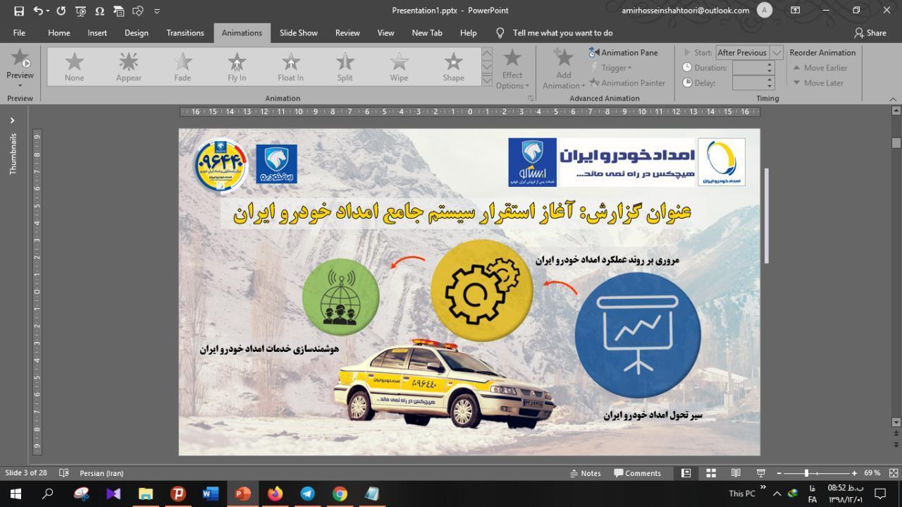 ساختن پاورپوینت فوری شرکت امداد خودروی ایران
